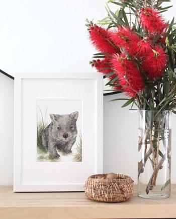 Wombat mini print, wombat fine art print
